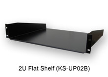 "2U Flat Shelf (KS-UP02B) - Black, Compatible to 19"" Industry Standard 42U Cabinet and 2 or 4-Post Racks."