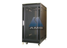"25U Cabinet (KS-25100BMD), Black, 40"" deep mesh F/R Doors, wheels and leveling feet. - (Free Shipping)"