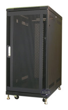 "25U Cabinet (KS-25100BMD), Black, 40"" deep mesh F/R Doors, 3-fans, wheel and leveling feet. - (Free Shipping)"