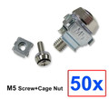 (PSCNM5) M5 Panel Screws + Cage Nut w/ 50pcs