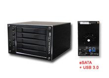 "VENUS T5C mini (DS-2250C), 5-BAY 2.5"" HDD/SSD RAID STORAGE USB 3.0 & eSATA(PM) - EZ-RAID setup DIP switch (No drivers or BIOS for RAID operation) - Support Hot Swap and Hot Spare on RAID. JMicron JM393 Hardware RAID - JMicron Management Console (GUI) - RAID levels: JBOD, Clone, 0, 1, 3, 5 and 10) - Supports 2.5""  x5 SATA I/II hard drives. Up to 2.5TB (Terabytes) - Ball-Bearing 5x5cm cooling fan - 20w power adapter - Compatible to x86/x64 platforms. - Color: Black"