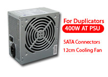400W AT Power Supply (PP-GBP400S) SATA Series w/ 12cm Cooling Fan - Designed for Tower Duplicators (1x5, 1x7, 1x10 and 1x11) Tested with CDRW /DVDRW and Blu-ray devices. Specifications: Connectors: SATA x13, IDE x2, 4-pin (floppy) x1 Fan: 12cm AC Input: 115V(8A) / 230V(5A), 60/50Hz DC Output: +12V1(18A) / +12V2(17A) / +5V(18A) (335W MAX) UL, TUV, CE and RoHs 2-Year Warranty.