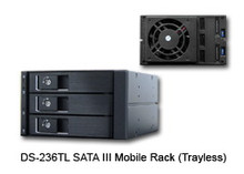 """3-IN-2 SATA Backplane Module, 3.5"""" HDD/SSD/SAS compatible. Transfer speed up to SATA III 6Gbps (600MB/s). Tray-less Design, 60mm Cooling Fan (Hi/Lo Control). Fits into two 5.25"""" drive bay. Connectors: 15pin SATA x2 and 7pin Data x3. LED status: Blue LED Power and Activity Indicator. Aluminum body. Color: Black"""