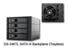 "4-IN-3 SATA Backplane Module, 3.5"" HDD/SSD/SAS compatible. Transfer speed up to SATA III 6Gbps (600MB/s). Tray-less Design, 80mm Cooling Fan (Hi/Lo Control). Fits into three 5.25"" drive bay. Connectors: 15pin SATA x2 and 7pin Data x4. LED status: Blue LED Power and Activity Indicator. Aluminum Body. Color: Black"