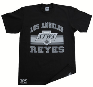 "Los Reyes T-Shirt by Streetwise. A flip on the Los Angeles, Kings logo, ""Reyes"" means Kings in Spanish."