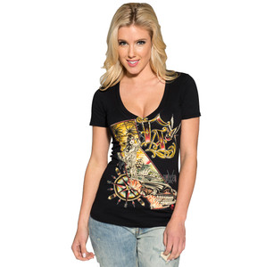 Women's black Kali vneck from Sullen clothing.