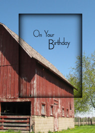 On Your Birthday Barn - KJV Scripture Greeting Card - 5X7
