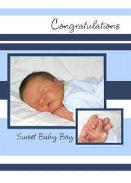 "Congratulations - Sweet Baby Boy - 5"" x 7"" KJV Greeting Card"