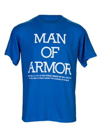 Man of Armor Christian Men's T Shirt (White Print on Royal Blue)
