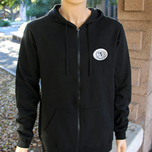 Black Zip Hoodie with Seal