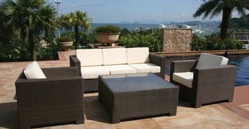 Outdoor Patio Sofa Sectional Wicker Furniture 5pc Resin Couch Set