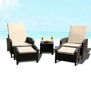 Outdoor Patio Wicker Furniture Pool Lounge All Weather 3-Piece Resin Garden Recliner Set