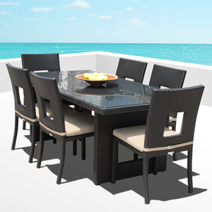 Outdoor Patio Wicker Furniture All Weather New Resin 7-Piece Dining Table & Chair Set