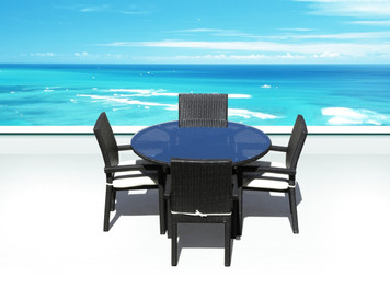 Outdoor Patio Wicker Furniture Ios 5 Pc Round Dining Set