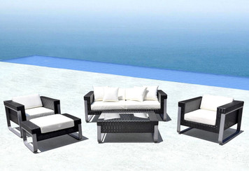 Outdoor Patio Wicker Furniture Sofa Sectional 5pc Aluminum Resin Couch Set