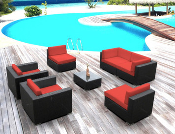 Outdoor Patio Sofa Sectional Wicker Furniture 7pc New Resin Couch Set