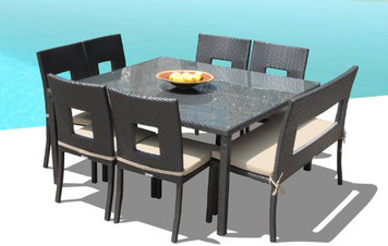 Outdoor Patio Wicker Furniture New Resin 8-Pc Square Dining Table Chairs & Bench Set