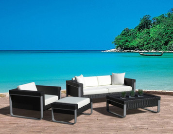 Outdoor Patio Sofa Sectional Wicker Furniture 4pc Aluminum Resin Couch Set