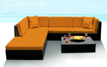 Outdoor Patio Wicker Furniture Sofa Sectional 6pc Resin Couch Set