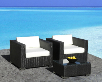 Outdoor Patio Furniture All-Weather Wicker 3 Pc Arm Chair Set