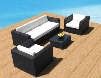 Outdoor Patio Furniture Sofa All-Weather Wicker Sectional 4pc Resin Couch Set