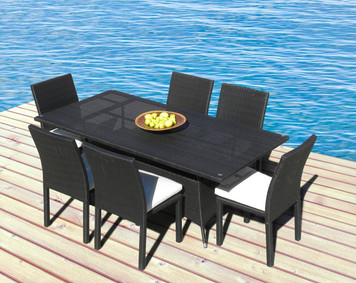 Outdoor Patio Wicker Furniture New All Weather Resin 7-Piece Dining Table & Chair Set