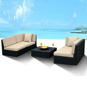 Outdoor Furniture Wicker Sofa Sectional 5Pc New Resin Couch Set