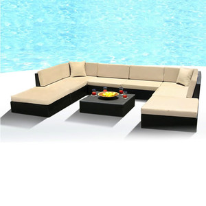 Outdoor Patio Sofa Sectional Wicker Furniture 9pc Resin Couch Set