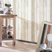 New England Cream and Brown Wood Panel Wallpaper