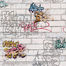 multi coloured graffiti white brick wall wallpaper