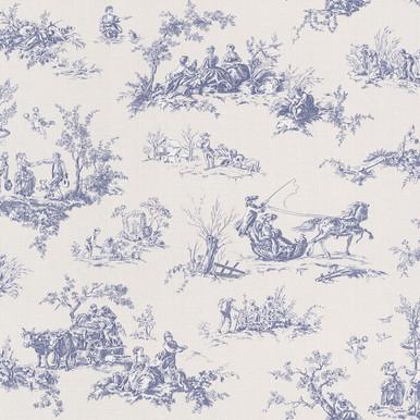 Blue toile wallpaper rasch wallpaper lancashire wallpaper - Rideaux toile de jouy ...