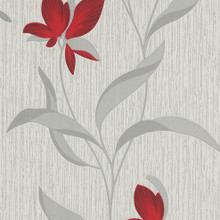 red flower silver floral trail wallpaper