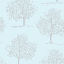 duck egg and silver tree wallpaper
