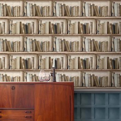 Neutral Bookcase Wallpaper