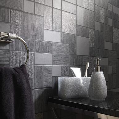 Kitchen and Bathroom Black Glitter Tile Wallpaper