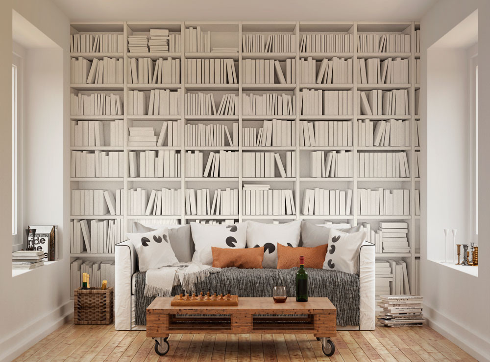 Library books mural oh popsi wall murals lancashire for Bookshelf mural wallpaper