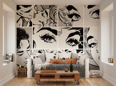 Nice Loading Zoom. Image 1. Black And White Pop Art Mural Wallpaper Part 21