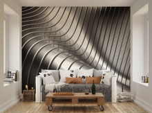 Silver Steel Curves Wall Mural WAL0040