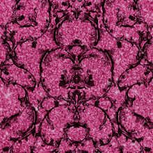 baroque damask pink crushed stone glitter wallpaper