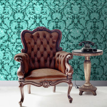 baroque damask teal crushed stone glitter wallpaper