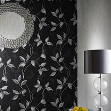 washable textured black and silver leaf wallpaper