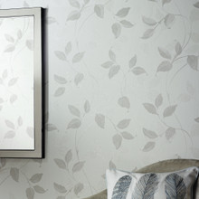 washable textured white and silver leaf wallpaper