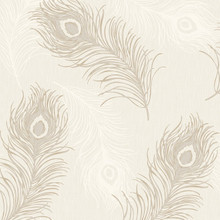 peacock beige feather wallpaper