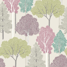 arthouse multicoloured pink and purple trees wallpaper with silver glitter