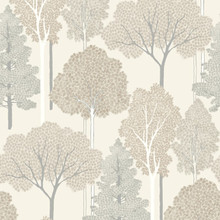 arthouse neutral cream and beige trees wallpaper with silver glitter