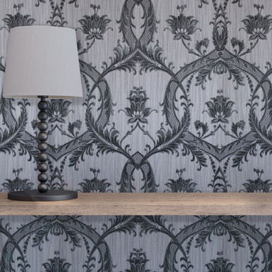 Milano Damask Grey Wallpaper Fine Decor Wallpaper