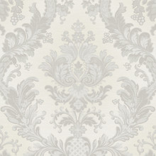 Luxury Heavy White and Silver Damask Wallpaper