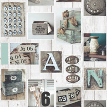 Bits and Bobs Pictures on Wood Wallpaper