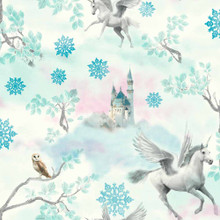 Teal Blue Fairytale Glitter Unicorns Wallpaper