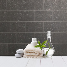 Kitchen Bathroom Black Glitter Tile Wallpaper